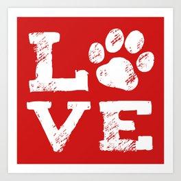 Love with Dog Paw Print Art Print