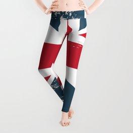 British vector flag in grunge vintage style Leggings