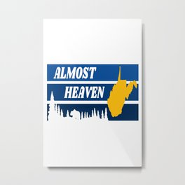 West Virginia Almost Heaven Nature Retro Print Metal Print