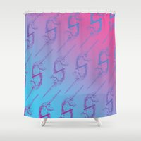 unicorns Shower Curtains featuring Unicorns by very giorgious