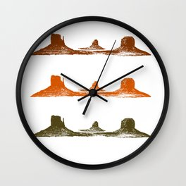 Monument Valley, 3 mountains, 3 colors Wall Clock