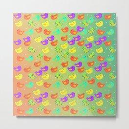 colorful happy birds party Metal Print