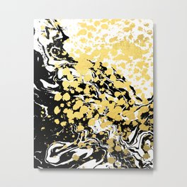 Sukie - abstract gold black and white foil glitter shiny sparkle hipster painting free spirit cosmic Metal Print