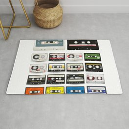 Collection of Retro Audio Cassette Tapes Rug