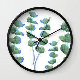 Eucalyptus leaves / modern botanical watercolor illustration on white Wall Clock