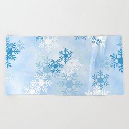 Blue White Winter Snowflakes Design Beach Towel