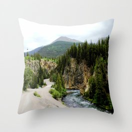 Crossing the Animas River to the Mayflower Mine Throw Pillow
