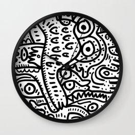 Eyes on you Street Art Graffiti Black and White Wall Clock