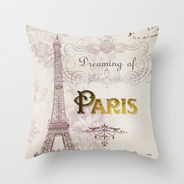 Paris Eiffel Tower French Script Blush Pink Montage Throw Pillow
