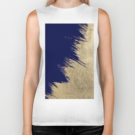 Navy blue abstract faux gold brushstrokes Biker Tank