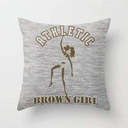 Athletic Brown Girl Throw Pillow