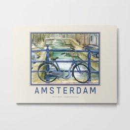 Blue Bike on Bridge Overlooking Amsterdam Canal Wall Poster Metal Print