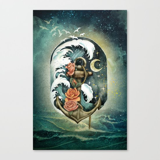 Navigate waves and stars Canvas Print