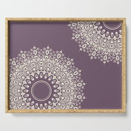 Asymmetric Mandalas on Mulberry Background Serving Tray
