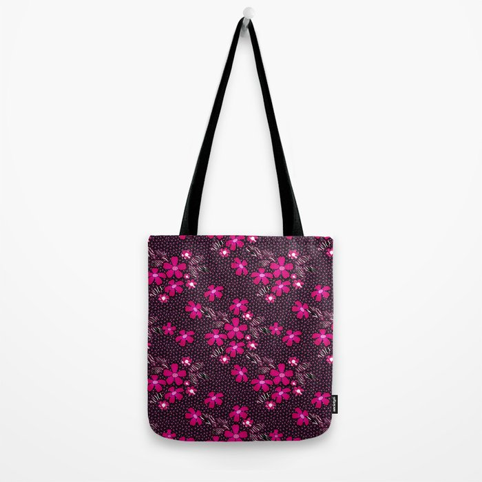 The floral pattern on the grid . Black and crimson pattern . Tote Bag