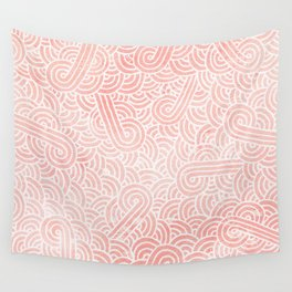 Rose quartz and white swirls doodles Wall Tapestry