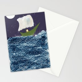 Green Boat Whimsical Illustration Stationery Cards