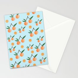 Fruity Oranges Pattern in Cool Blue Stationery Cards