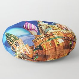St. Basil's Cathedral, Moscow landscape painting by Jeanpaul Ferro Floor Pillow