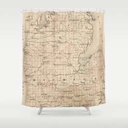 Vintage Map of Michigan (1873) 2 Shower Curtain