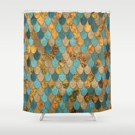 Oceanic Blue Gold Mermaid Scales HJYLY Shower Curtain