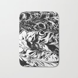 Suminagashi 4 black and white marble spilled ink ocean swirl watercolor painting Bath Mat