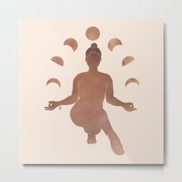Minimalist Style | Yoga Girl Silhouette and Moon Phases | Watercolor in Copper Metal Print