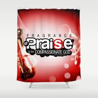 bible verse Shower Curtains featuring Bible Scripture by Azeez Olayinka Gloriousclick