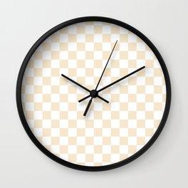 Small Checkered - White and Champagne Orange Wall Clock