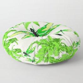 TROPICAL FERNS & EMERALD GREEN  SWAMP DRAGONFLIES Floor Pillow
