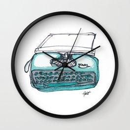 """""""Type"""" Hand Drawn Typewriter Teal Wall Clock"""