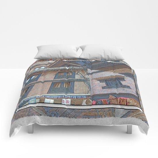 BHAKTAPUR NEPAL BRICKS WINDOWS WIRES Comforters