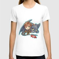 hiccup T-shirts featuring Httyd 2 - Chibi Hiccup and Toothless by ibahibut