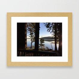 Lake Tahoe cabin view Framed Art Print