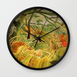 Henri Rousseau Tiger In A Tropical Storm Wall Clock