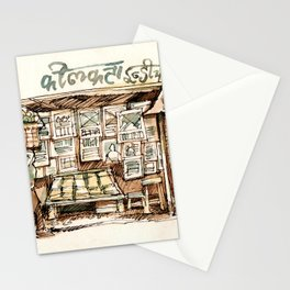 Kolkata India Sketch in Watercolor | City View | Street Newsstand | Calcutta West Bengal Stationery Cards