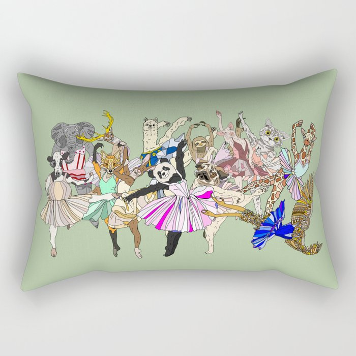 Animal Ballet Hipsters - Green Rectangular Pillow