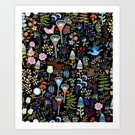 Seamless pattern with bright multicolored decorative flowers on a black background Art Print