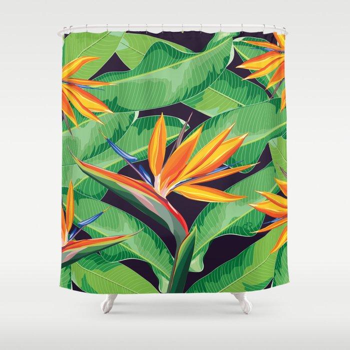 Bird Of Paradise Flower Shower Curtain By Dramoss