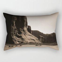 Canyon de Chelly - Chinle, Arizona – Navajo Indians on Horseback by Edward Curtis Rectangular Pillow