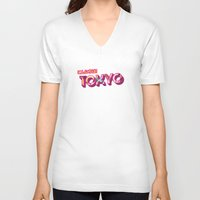 tokyo V-neck T-shirts featuring Tokyo by nicole martinez
