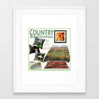 bedding Framed Art Prints featuring Country Bedding Set from Vermont Greetings  by Vermont Greetings