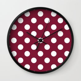 Claret - purple - White Polka Dots - Pois Pattern Wall Clock