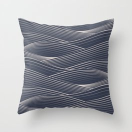 Dark Smooth Japanese Wave Throw Pillow