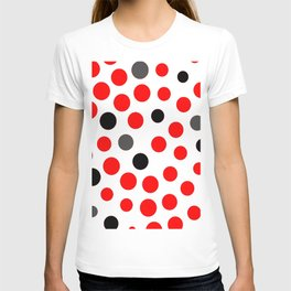 red grey black dots on white background pattern T-shirt