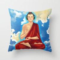buddah Throw Pillows featuring Adeptu Buddah by Conversa entre Adeptus