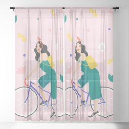 Racing bike girl Sheer Curtain