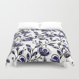 Modern navy blue white hand painted watercolor flowers Duvet Cover