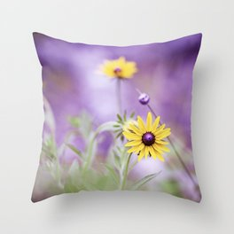 Purple Yellow Flower Photography, Purple Gold Green Nature Art Print, Daisy Floral Photo Throw Pillow