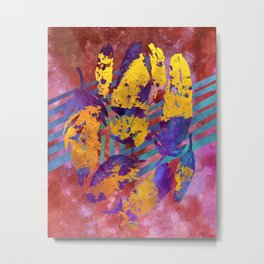 Boho Feathers Dark Red Gold Purple Metal Print